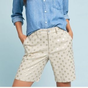 Anthropologie Linen Gold Polka Dot Bermuda Shorts